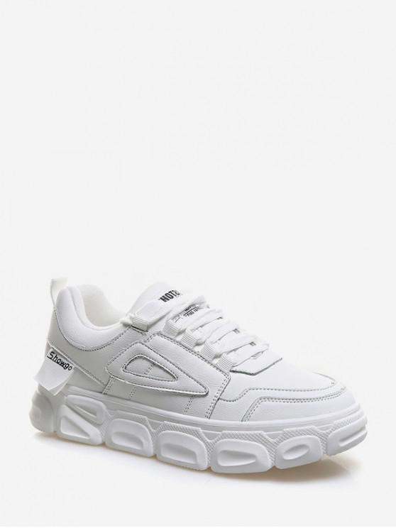 fancy PU Leather Platform Skate Sneakers - WHITE EU 35
