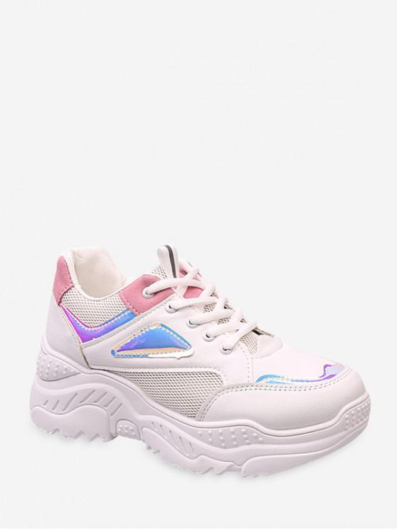 Color-blocare laser Trim tata sneakers - alb UE 41