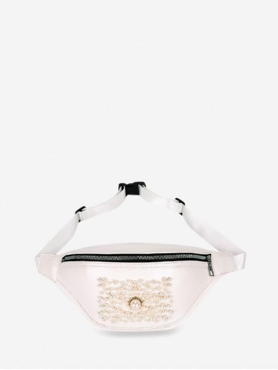 hot Zipper Pocket Pearl Embellished Chest Bag - WARM WHITE