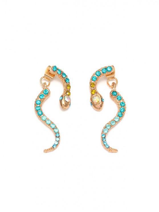 chic Snake Rhinestone Stud Drop Earrings - GOLD