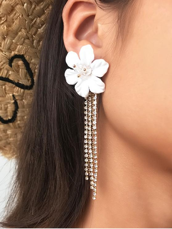 unique Flower Rhinestone Tassel Long Earrings - WHITE