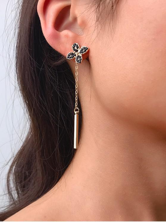 花水鑽長耳環 - 金