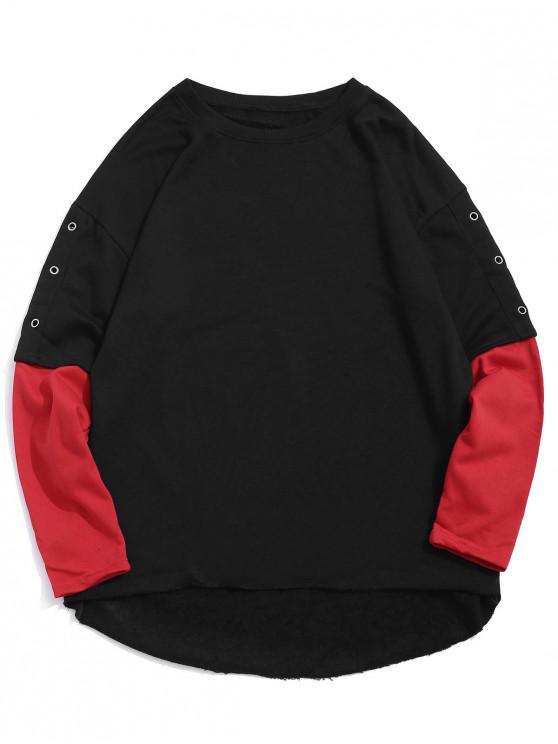 lady Color Blocking Faux Two Pieces Sweatshirt - BLACK 2XL
