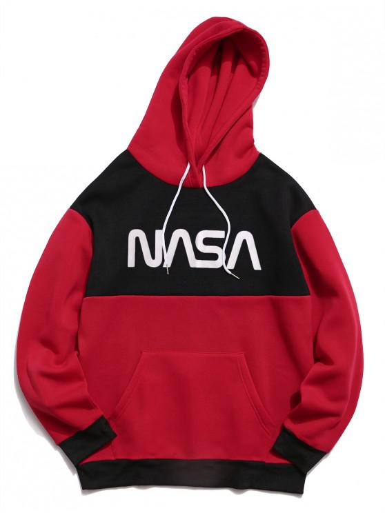 trendy Letter Graphic Contrast Color Fleece Hoodie - RED 2XL