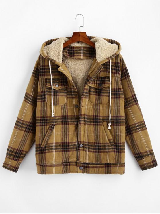 latest Plaid Faux Fur Chest Pocket Fluffy Jacket - COFFEE M