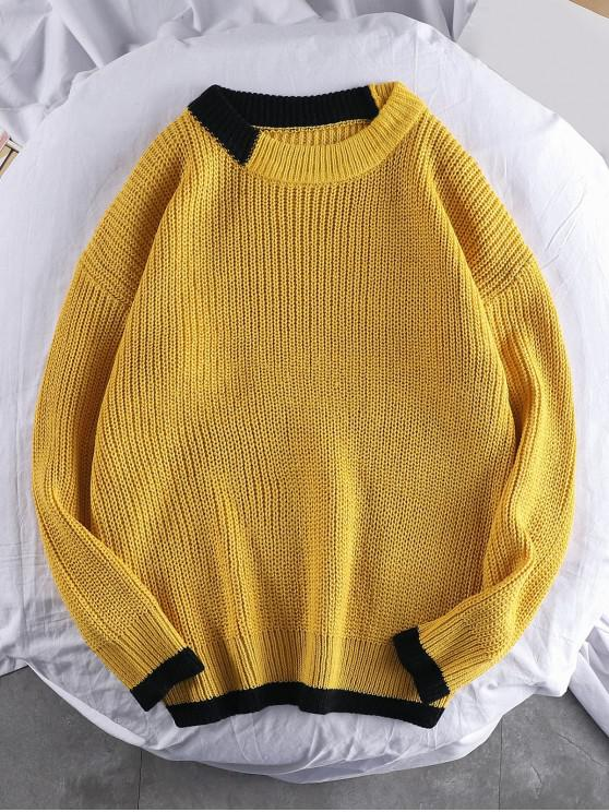 affordable Color Spliced Round Neck Pullover Sweater - BEE YELLOW 2XL
