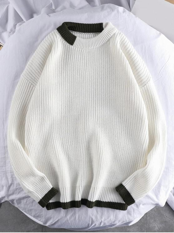 buy Color Spliced Round Neck Pullover Sweater - WHITE M