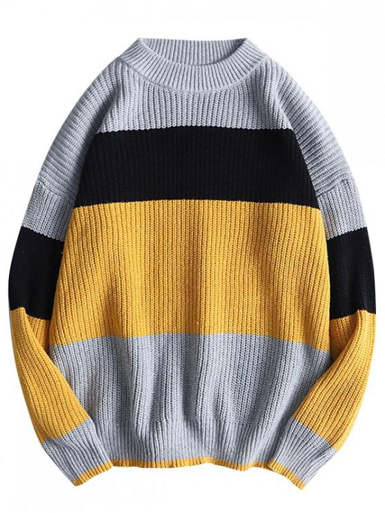 ladies Color Spliced Pullover Casual Sweater - BEE YELLOW XS