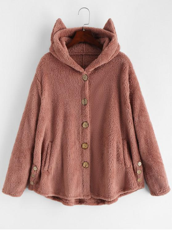 sale Pockets Cat Hooded Button Up Fluffy Jacket - PINK M