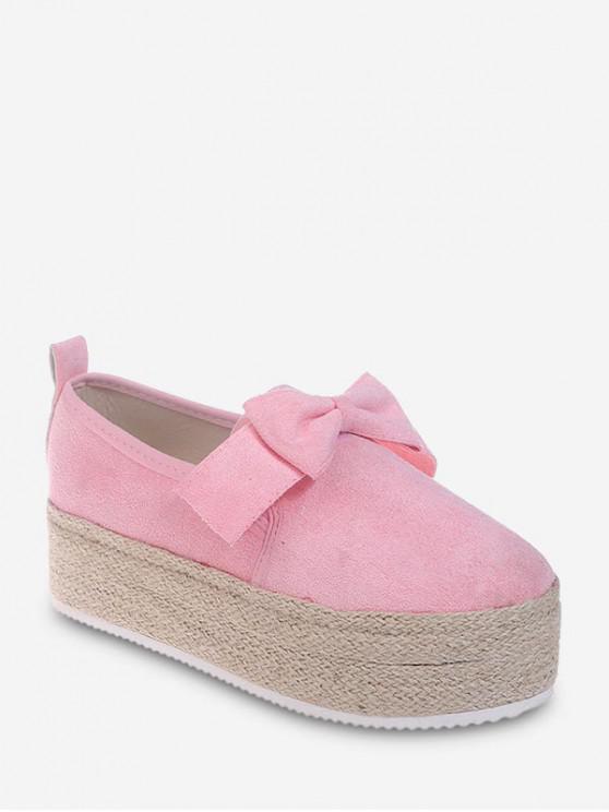 蝴蝶結溜Espadrille鬆糕鞋 - 淡粉色 歐盟38