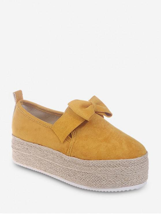 蝴蝶結溜Espadrille鬆糕鞋 - 黃色 歐盟39