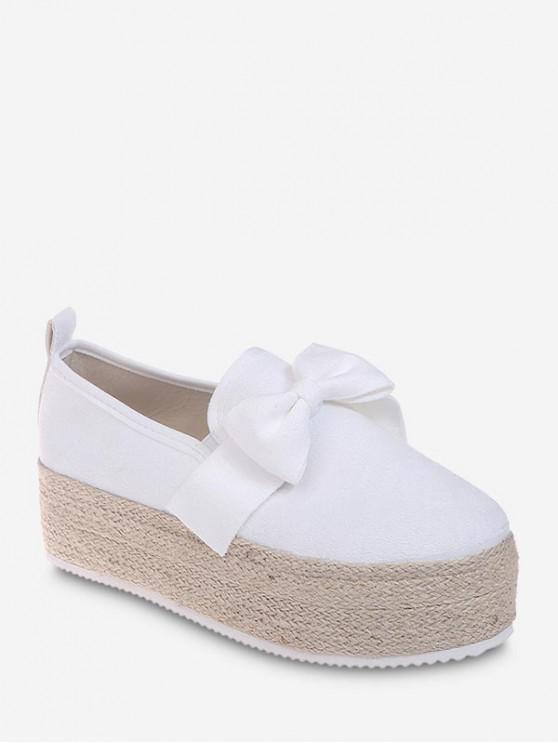 latest Bowknot Slip On Espadrille Platform Shoes - WHITE EU 39