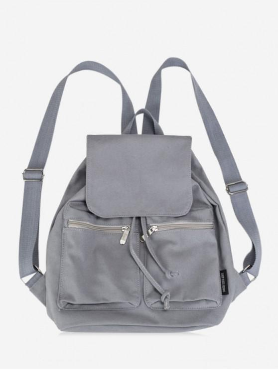 fashion College Style Canvas String Solid Backpack - BATTLESHIP GRAY
