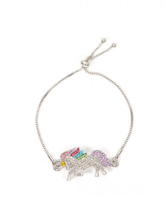women's Alloy Colored Rhinestone Unicorn Bracelet - SILVER