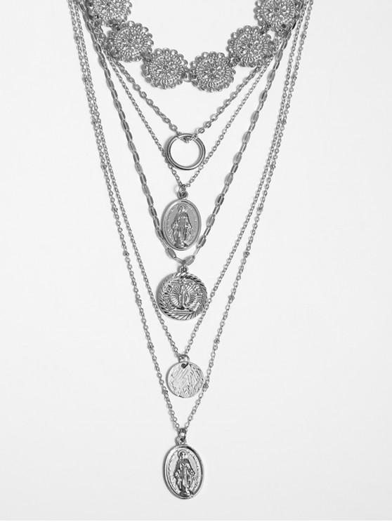鏤空花硬幣分層項鍊 - 銀
