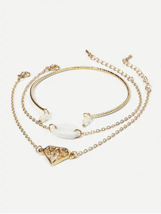 sale Alloy Shape Diamond Faux Pearl Shell Bracelets Set - GOLD
