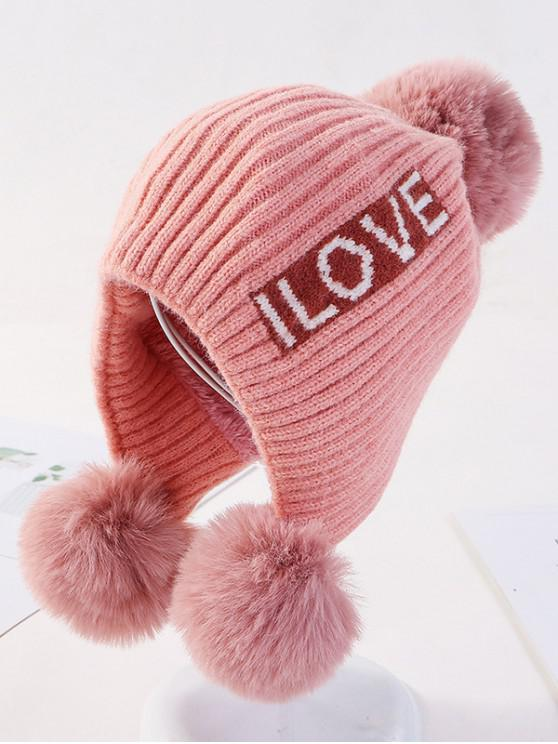 trendy Letters Ear Bobble Knitted Hat - PINK