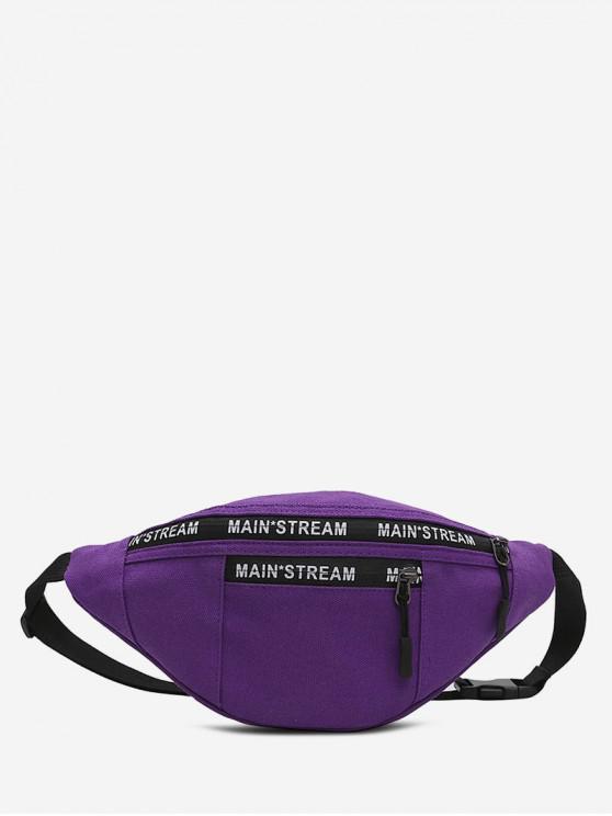 fashion Canvas Hip-hop Pockets Chest Bag - PURPLE IRIS