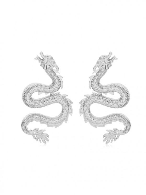unique Carved Dragon Shape Stud Earrings - SILVER