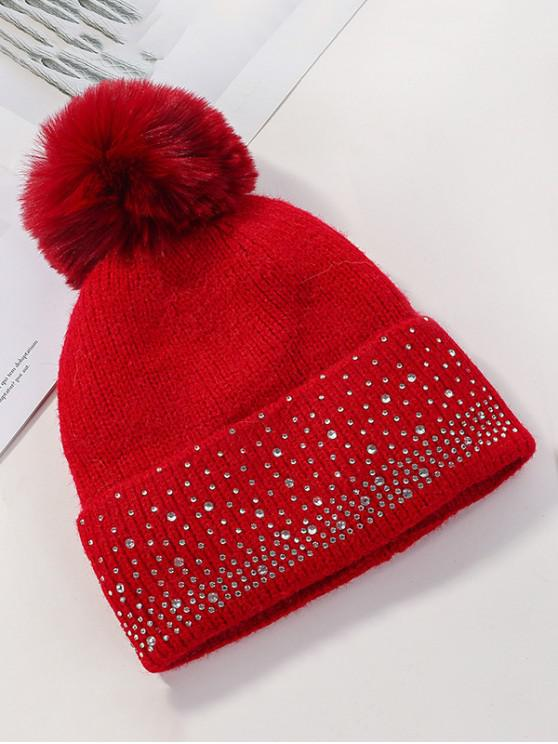 ขนแกะ Rhinestone Bobble ถักหมวก - สีแดง