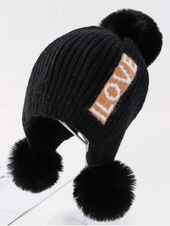 手紙耳ボブルニット帽子 - ブラック