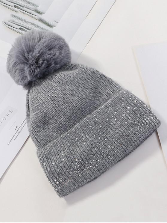 unique Fleece Rhinestone Bobble Knitted Hat - DARK GRAY