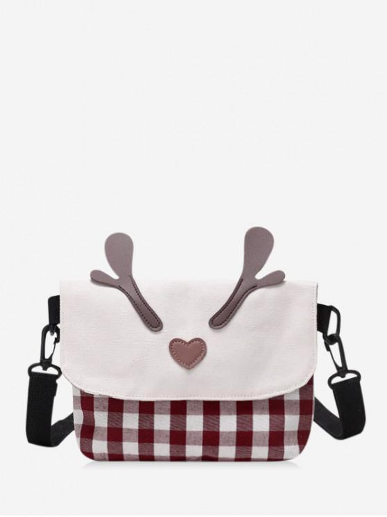 shops Christmas Plaid Pattern Elk Horn Shoulder Bag - FIREBRICK