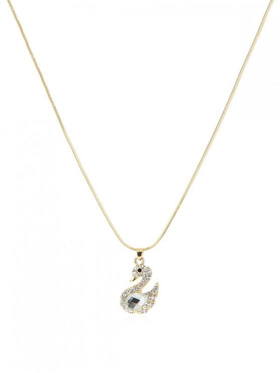 fashion Rhinestone Swan Shape Necklace - GOLD