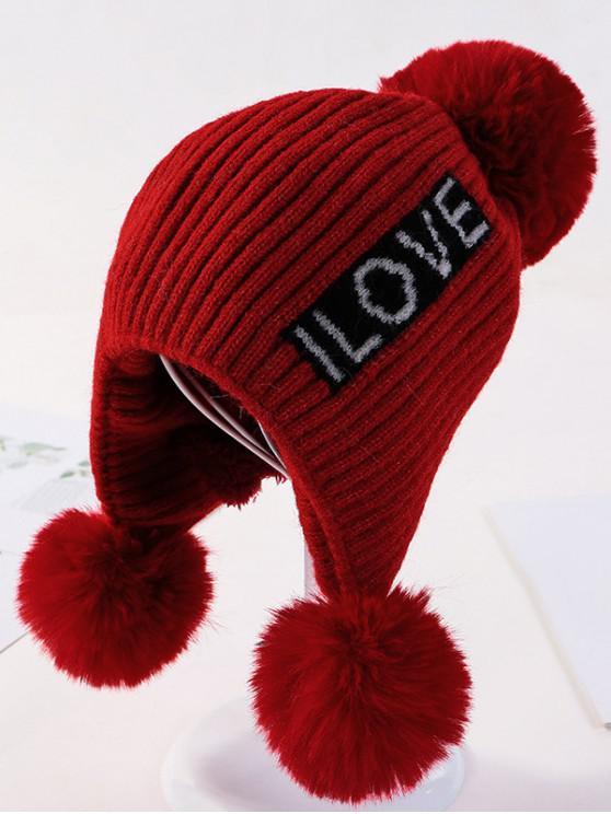 จดหมายหู Bobble ถักหมวก - ไวน์แดง