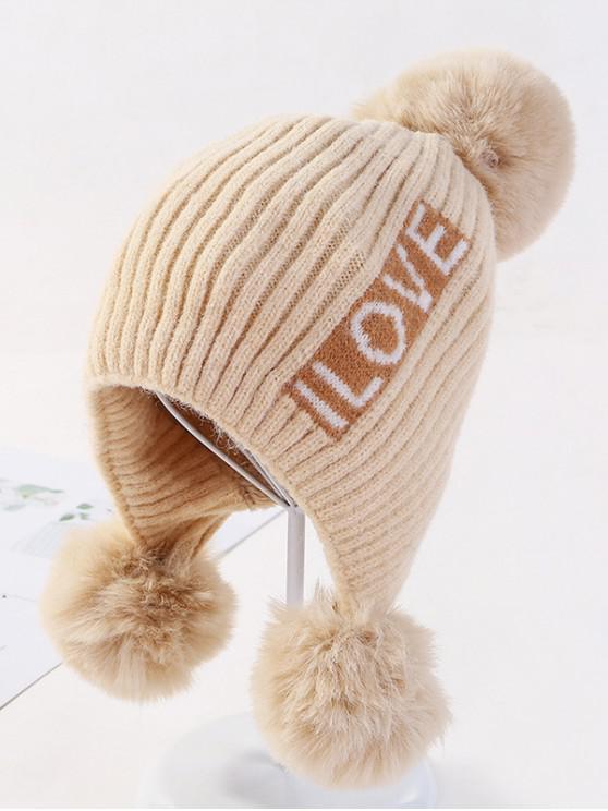 จดหมายหู Bobble ถักหมวก - สีขาวอบอุ่น