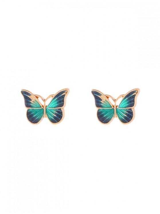 outfit Drops Oil Butterfly Stud Earrings - GREEN