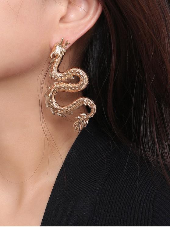 shop Carved Dragon Shape Stud Earrings - GOLD