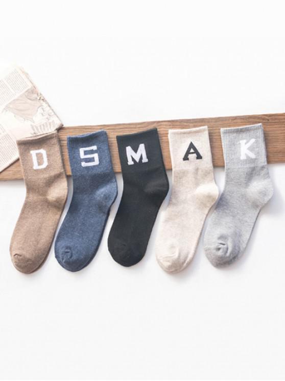 shops 5Pairs Letter Print Quarter Length Socks Set - MULTI-A