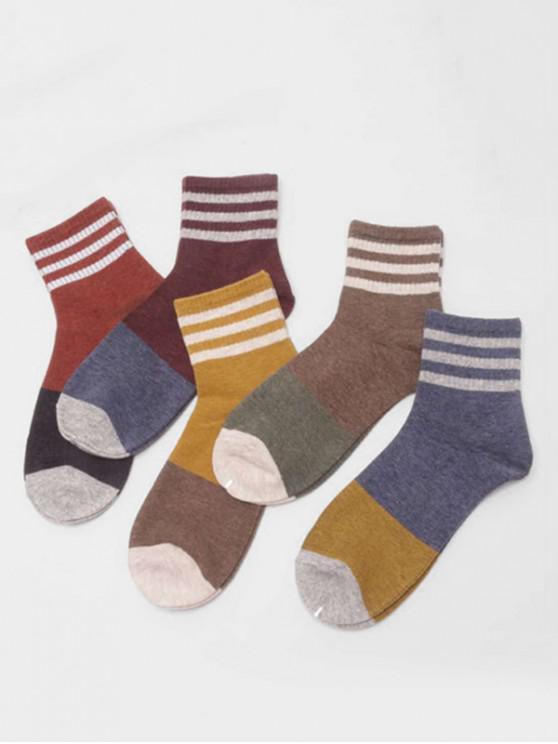 fashion 5Pairs Colorblock Striped Socks Set - MULTI-A