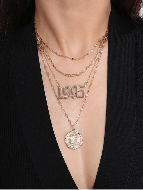 fancy Hollow Number Coin Layered Necklace - GOLD