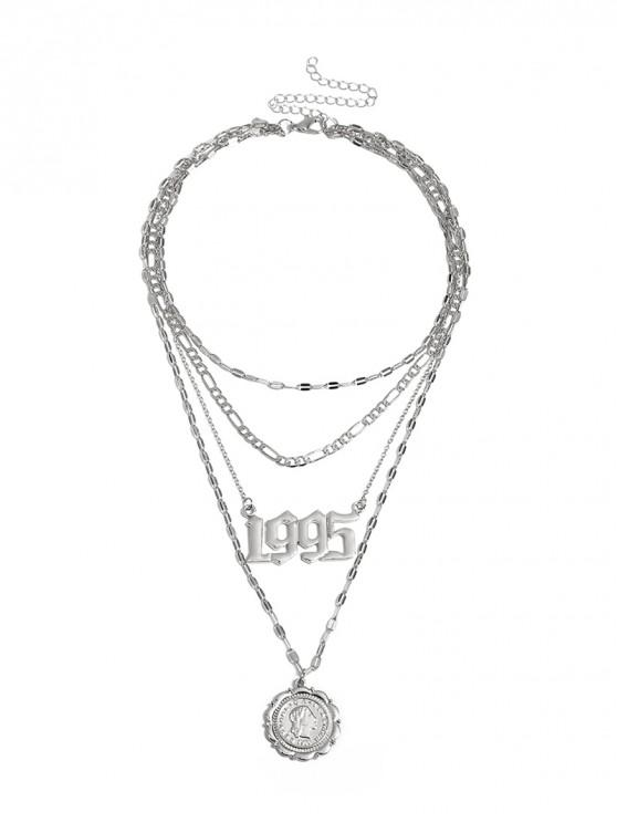 women Hollow Number Coin Layered Necklace - SILVER
