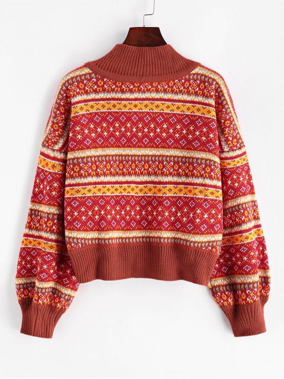 chic ZAFUL Mock Neck Intarsia Knit Graphic Jumper Sweater - MULTI M