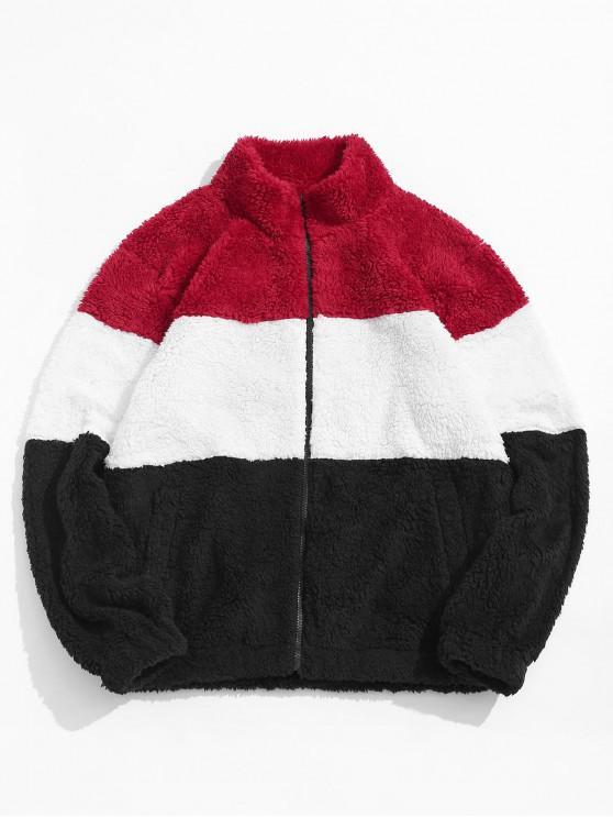 online ZAFUL Color Spliced Fluffy Zip Up Jacket - MULTI-C S