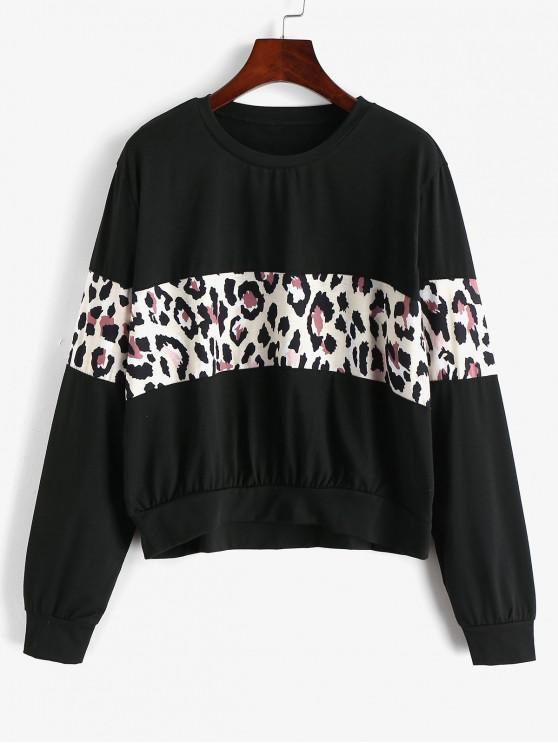 Contrast Leopard Panel Pulover Sweatshirt - Negru M