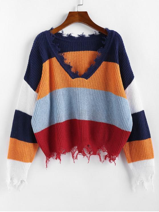 ZAFUL colorblock Ripped V Neck Sweater - Multi-C XL