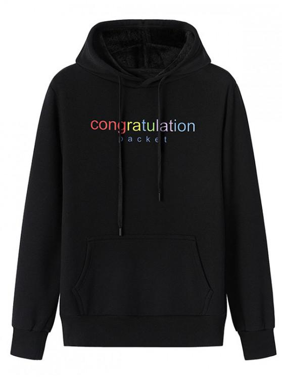 fancy Congratulation Letter Print Drawstring Plush Hoodie - BLACK XL
