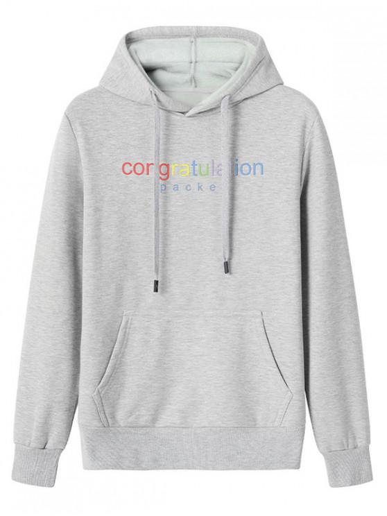 lady Congratulation Letter Print Drawstring Plush Hoodie - LIGHT GRAY 2XL