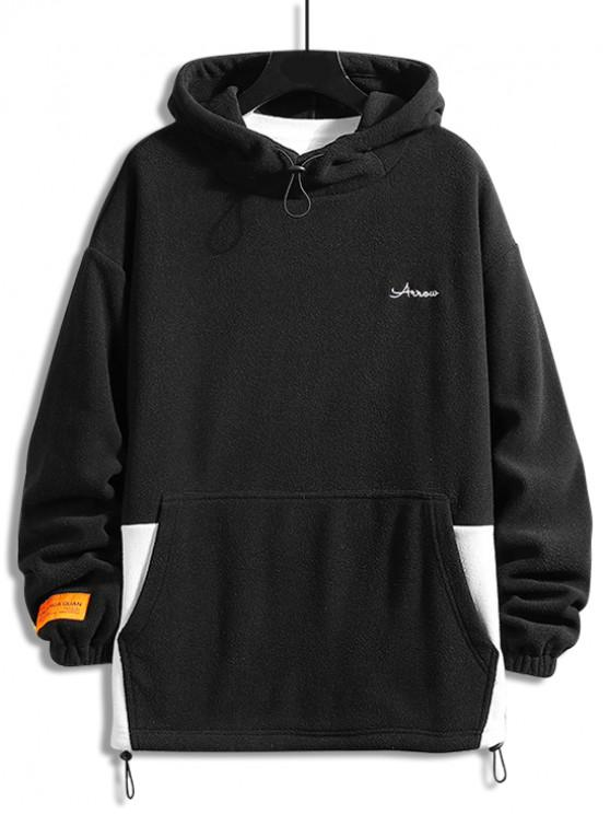 new Colorblock Spliced Letter Embroidery Casual Fleece Hoodie - BLACK XL