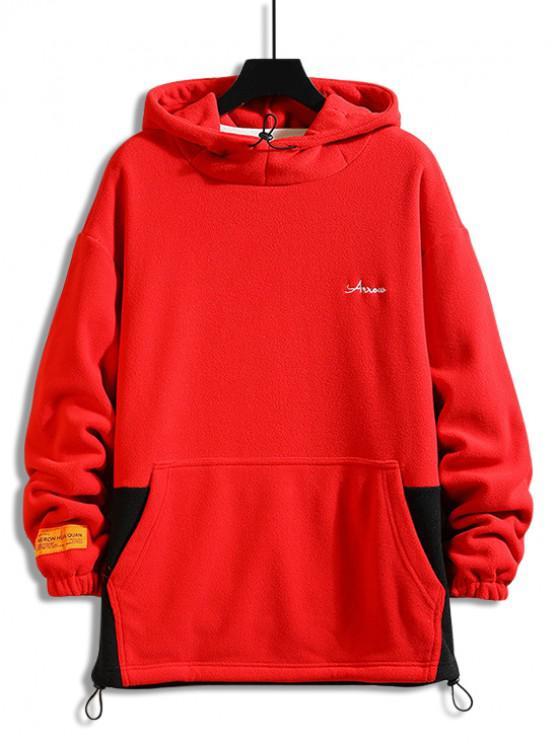 Colorblock înnădite Scrisoare de broderie casual Fleece Hoodie - roșu XL