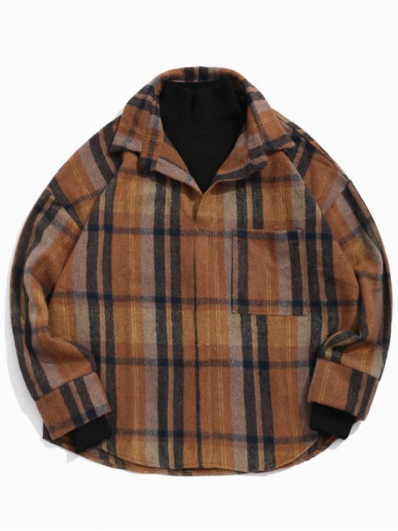women Vintage Plaid Pattern Pocket Design Jacket - COFFEE L