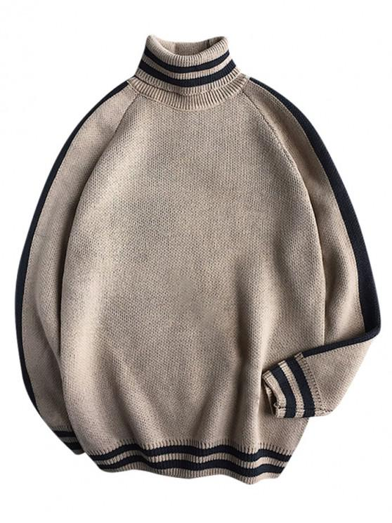 womens Casual Striped Pattern Pullover Sweater - TAN XL