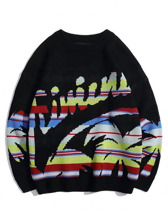 unique Palm Tree Graphic Crew Neck Casual Sweater - BLACK L