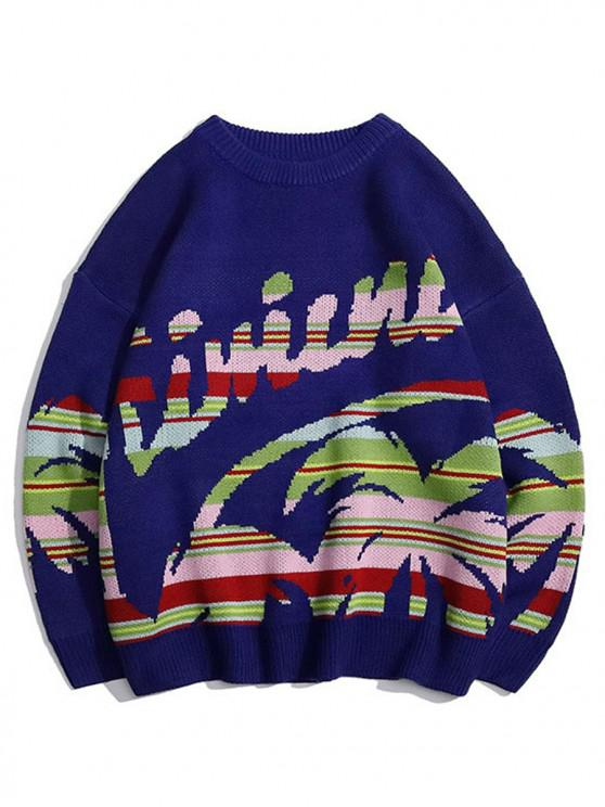 women's Palm Tree Graphic Crew Neck Casual Sweater - DEEP BLUE L
