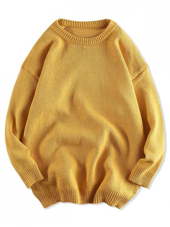 shops Solid Color Pullover Round Neck Sweater - BEE YELLOW 2XL