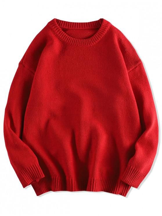 chic Solid Color Pullover Round Neck Sweater - RED L